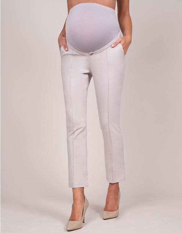 Image for Tailored Taupe Cropped Maternity Trousers