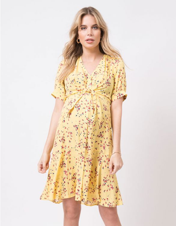 Image for Yellow Printed Maternity Dress