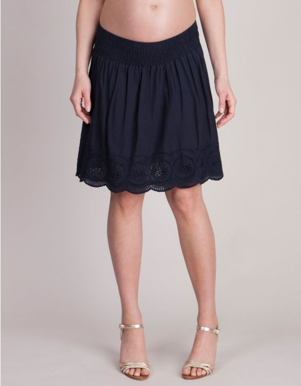 Bild für Navy Blue Cotton Maternity Skirt