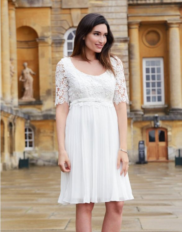 Image for Ivory Lace Top Pleated Maternity & Nursing Dress