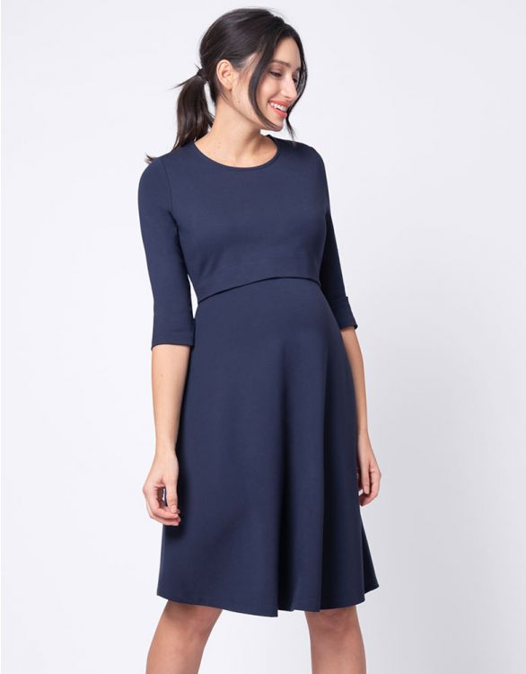 Image for ¾ Sleeve Navy Blue Maternity & Nursing Dress