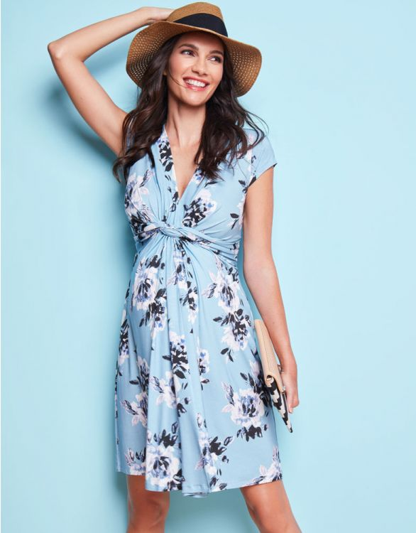 Image for Blue Floral Knotted Maternity Dress