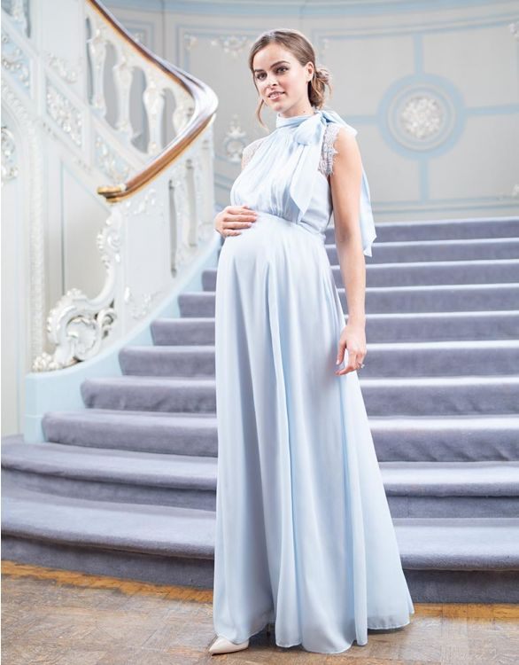 Image for Sky Blue Maternity & Nursing Gown with Neckline Tie