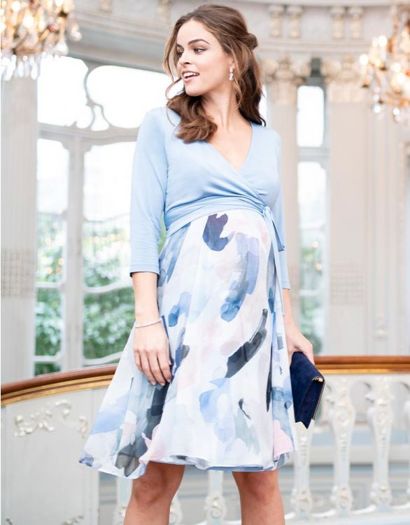 Image for Sky Blue Wrap Maternity & Nursing Dress