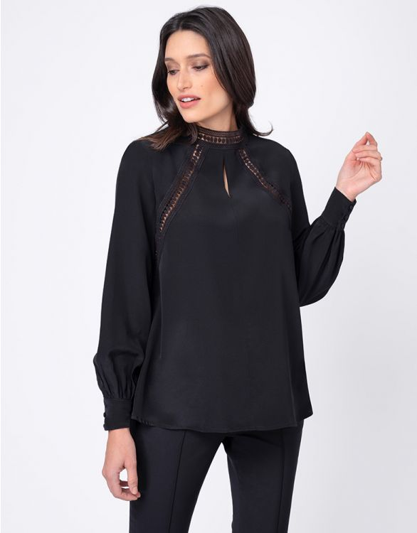 Image for Black Embroidered Maternity Blouse