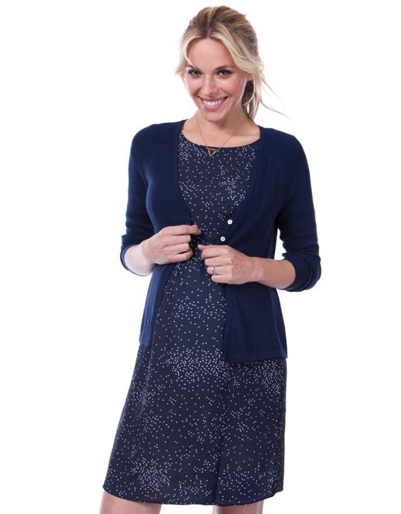 Image for Cotton Navy Blue Maternity Cardigan