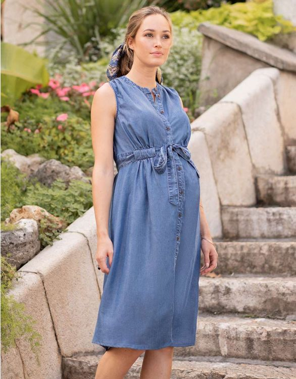 Image for Button Down Denim Maternity Midi Dress