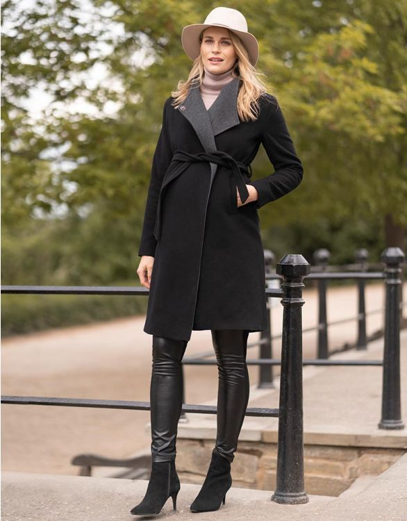 Image for Wool & Cashmere Black Maternity Coat
