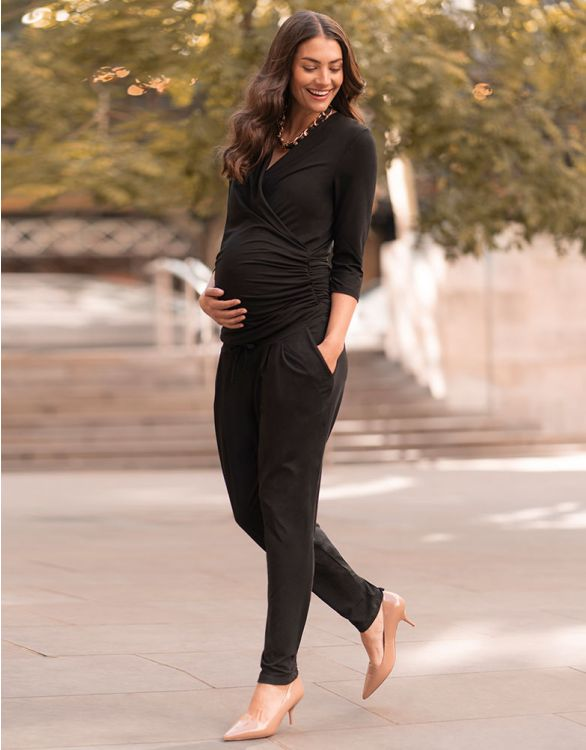 Image for ¾ Sleeve Black Maternity Jumpsuit