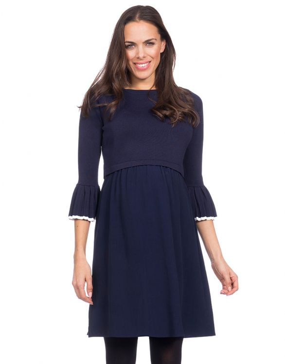 Image for Pleated Detail Maternity & Nursing Dress