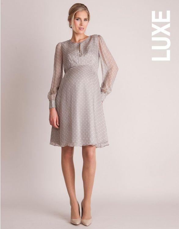 Image for Champagne Silk Chiffon Polka Dot Maternity Dress