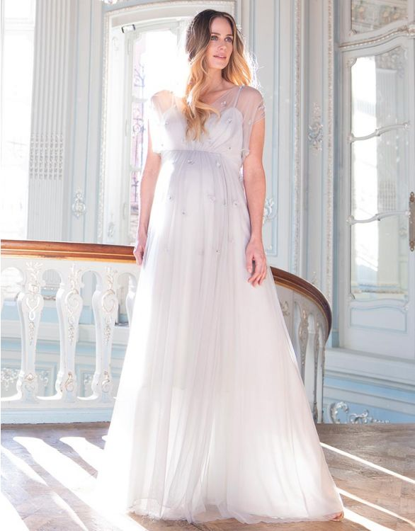Image for Mist Grey Grecian Maternity Gown