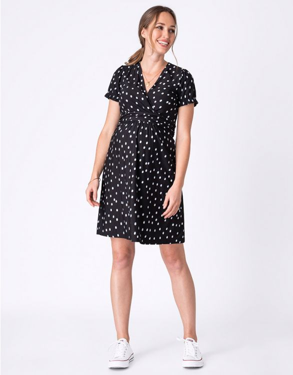 Image for Black Polka Dot Maternity & Nursing Dress