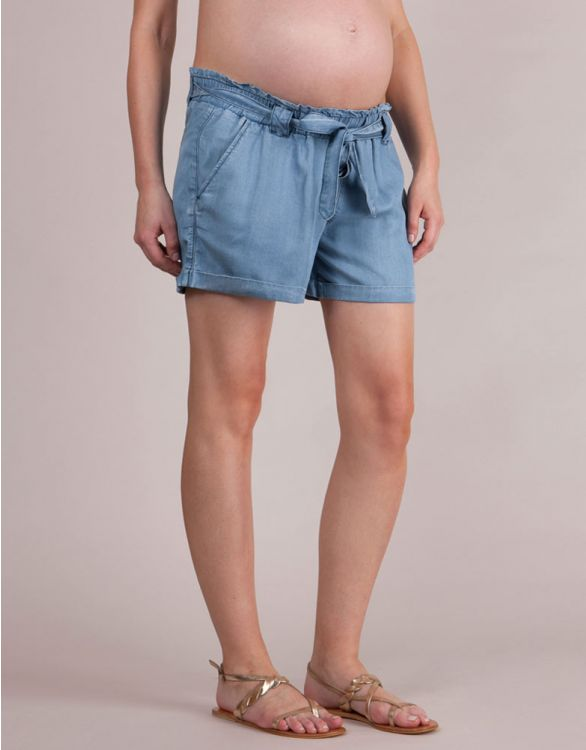 Image for Tencel Chambray Denim Maternity Shorts