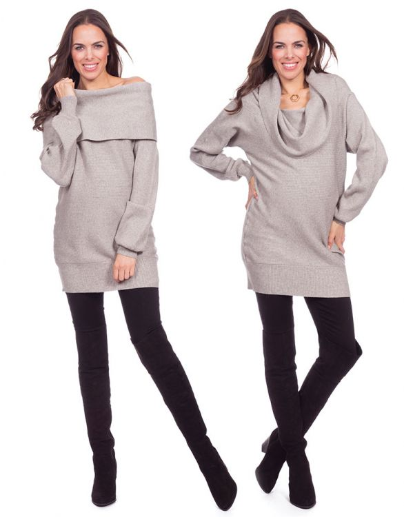 Image for Fold-Over Knitted Maternity Tunic