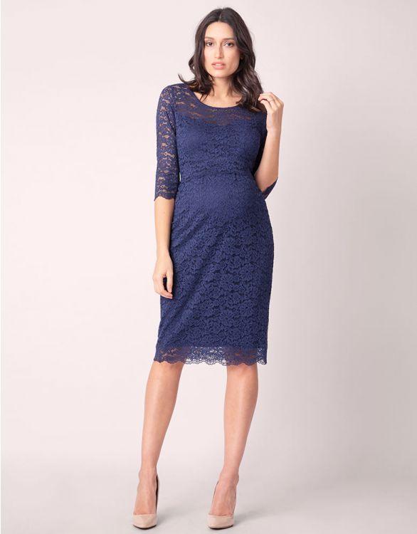 Image pour Robe de cocktail grossesse et allaitement en dentelle- Bleu marine
