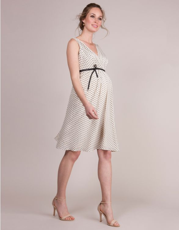 Image for Polka Dot Silk Maternity Cocktail Dress