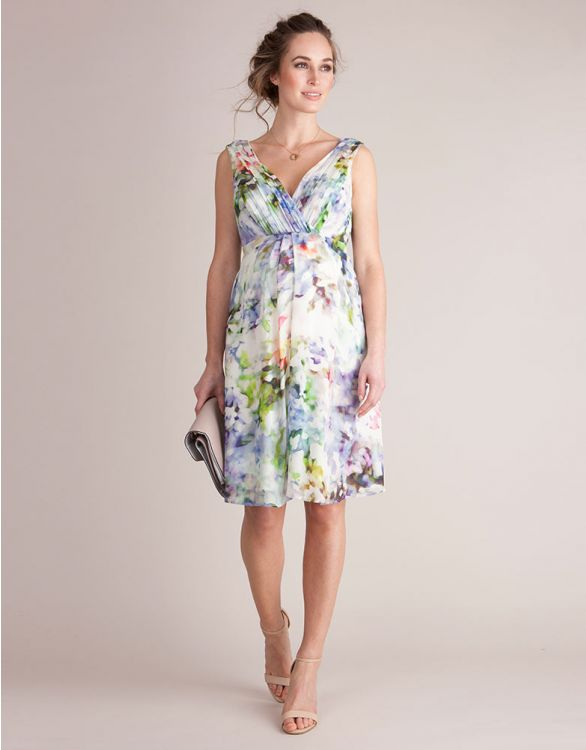 Image for Floral Silk Maternity Cocktail Dress