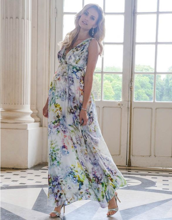 Image for Floral Silk Maternity Maxi Dress