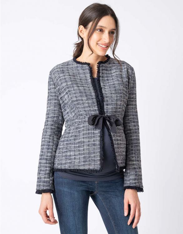 Image for Navy Blue Bouclé Maternity Jacket
