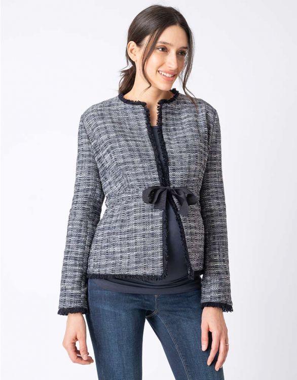 Image pour Veste grossesse en tweed - Bleu marine