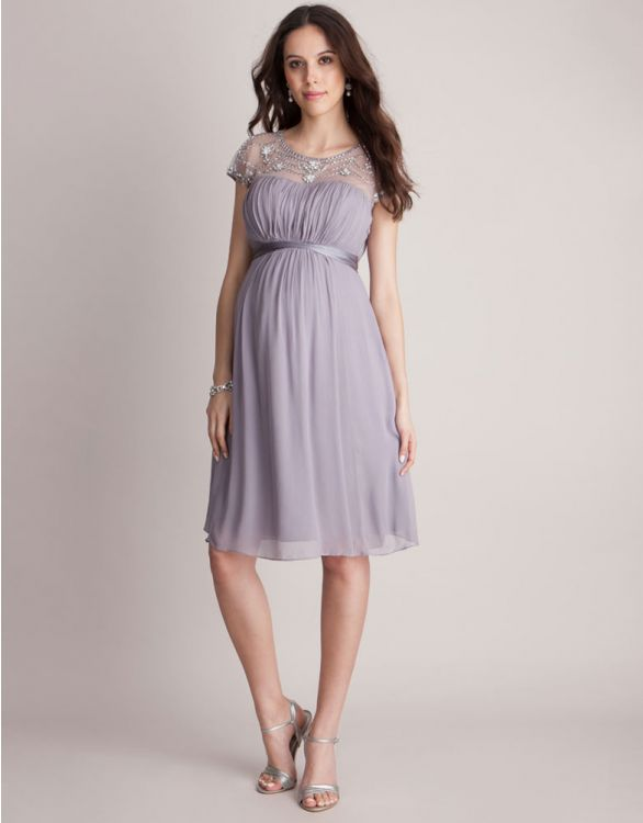 Image for Mauve Beaded Maternity Cocktail Dress