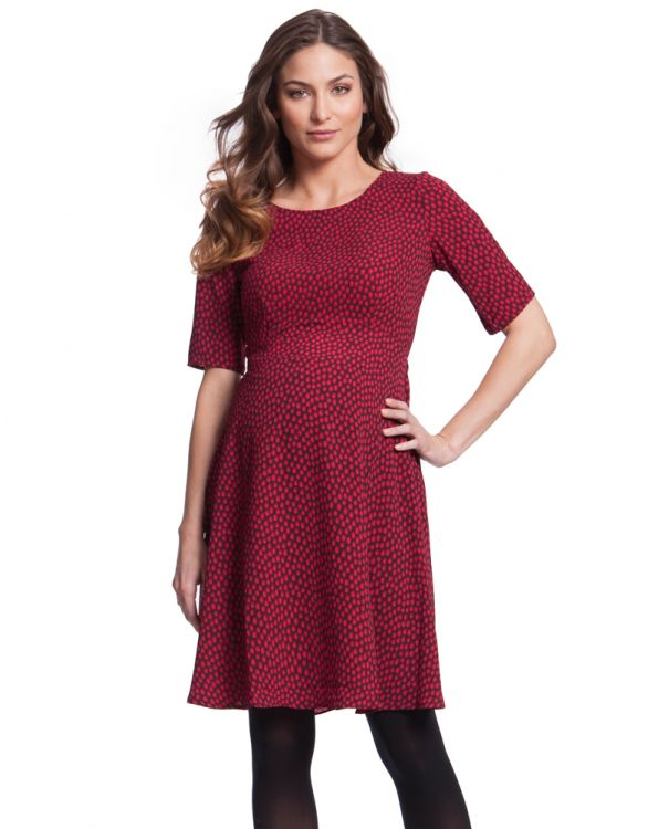 Image for Cerise Polka Dot Maternity Dress