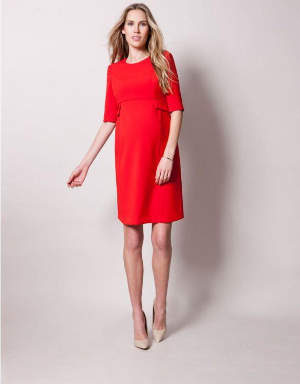 Bild für Kurzes Umstandskleid mit Schößchen - Rot