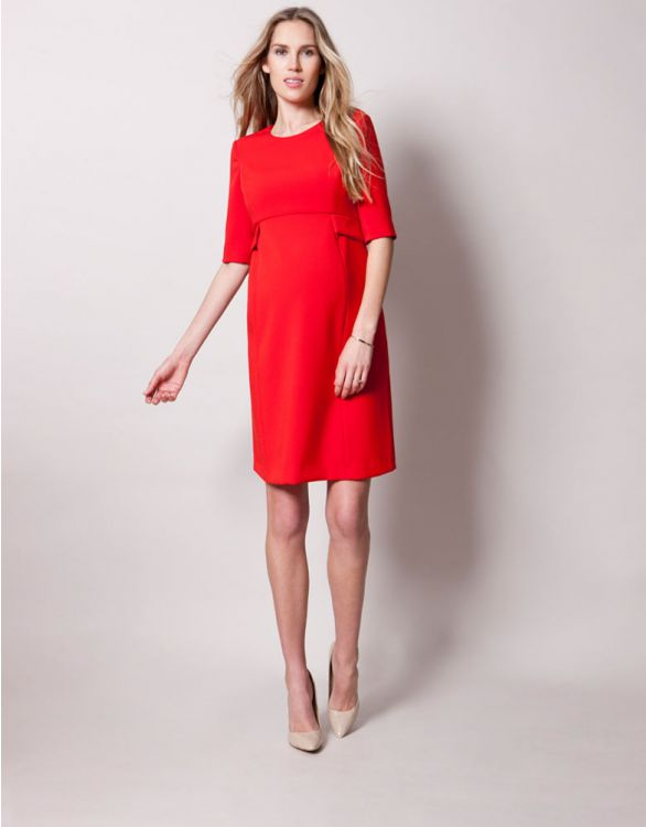 Image pour Robe de grossesse peplum rouge