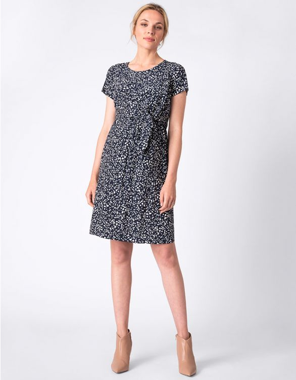 Image for Navy Printed Maternity & Nursing Dress
