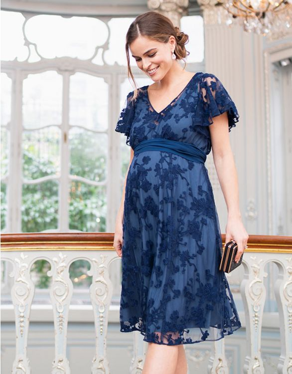 Image for Blue Lace Maternity & Nursing Dress