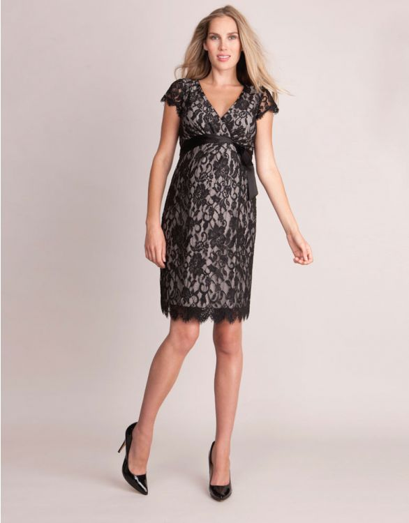 Image for Black Lace Wrap Maternity Dress