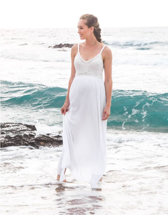 Image for White Crochet Top Maternity Maxi Dress