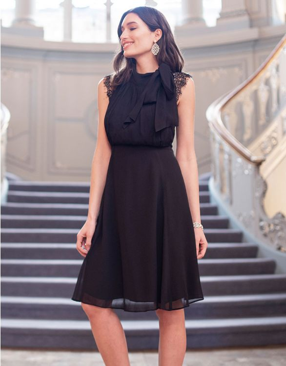 Image for Maternity & Nursing Cocktail Dress with Neckline Tie