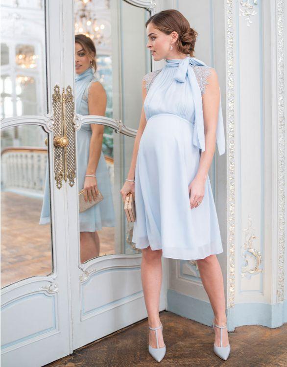 Image pour Robe grossesse et allaitement col cravate – Bleu ciel