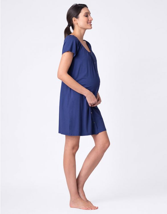 Image for Navy Blue Popper Down Maternity & Nursing Nightie
