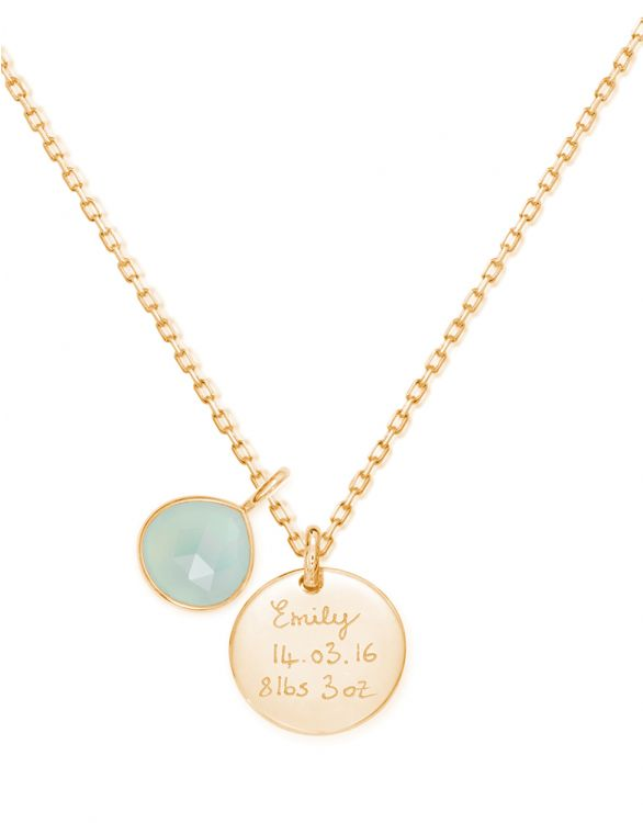 Image for Personalised Aqua Gemstone Necklace - Gold