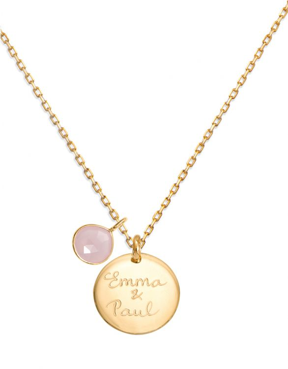 Image for Personalised Rose Chalcedony Gemstone - Gold