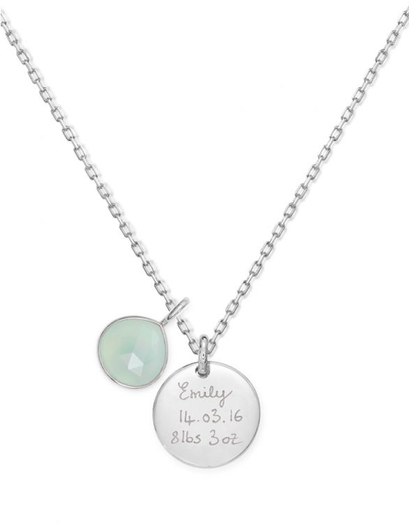 Image for Personalised Aqua Gemstone Necklace - Silver