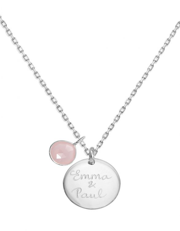 Image for Personalised Rose Gemstone Necklace - Silver