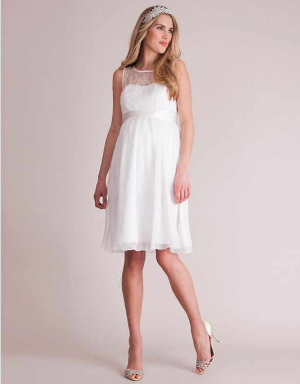 Image for Luxe Ivory Lace Trim Maternity Dress