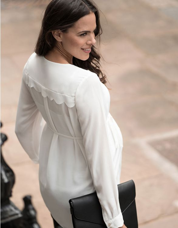 Image for Woven Scalloped Maternity Blouse