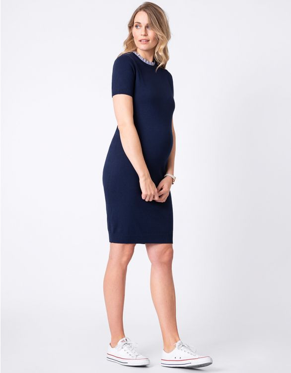 Image for Knitted Maternity Dress with Detachable Collar