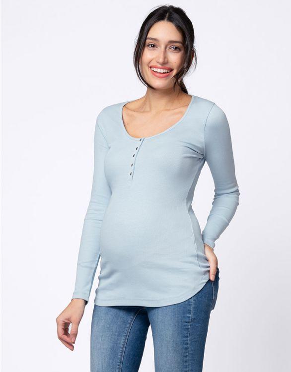 Image pour Haut grossesse et allaitement côtelée – Bleu pastel