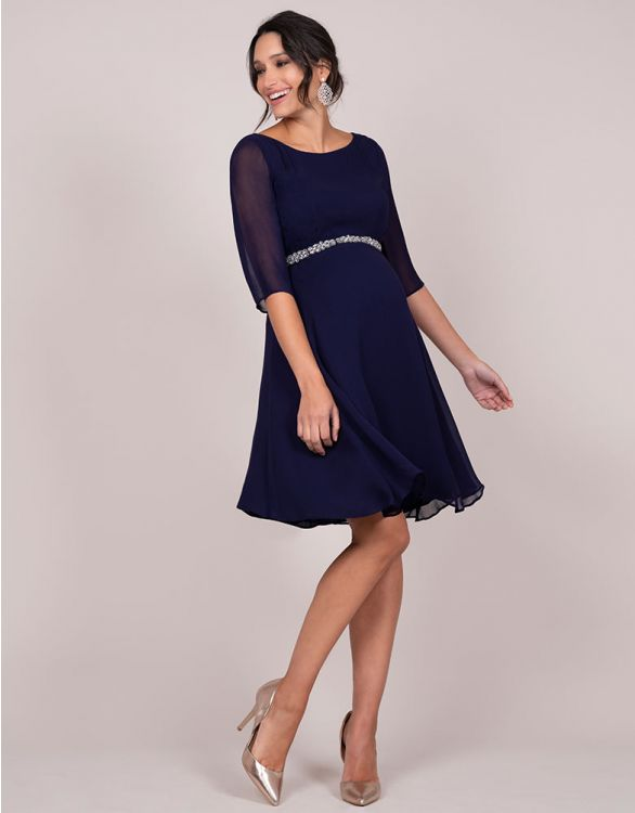 Image for Deep Blue Beaded Maternity Cocktail Dress