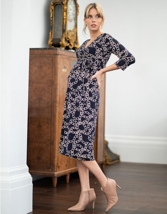 Image for Chain Print Wrap Maternity Midi Dress