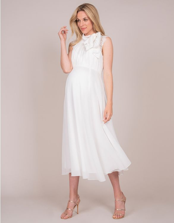 Image for Ivory Maternity & Nursing Dress with Neckline Tie