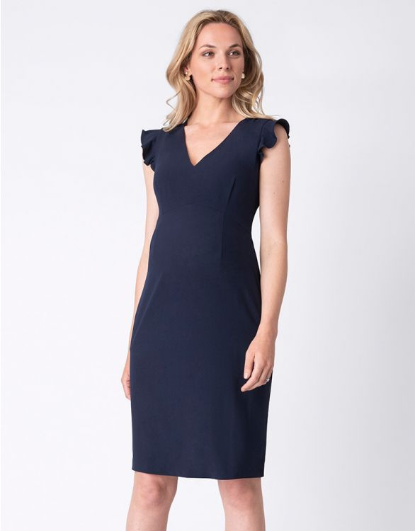 Image for Navy Blue Frill Sleeve Maternity Dress