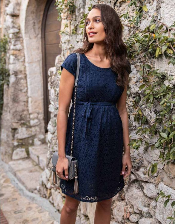 Image for Cotton Blend Navy Lace Maternity & Nursing Dress