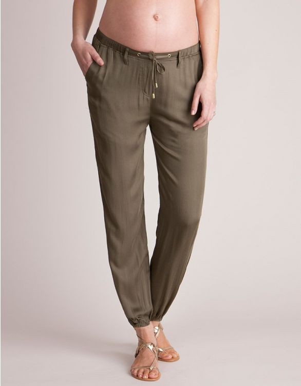 Image for Khaki Summer Slouchy Maternity Trousers